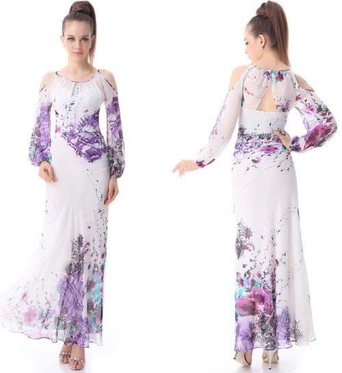 летнее платье из шифона с рукавами с разрезом