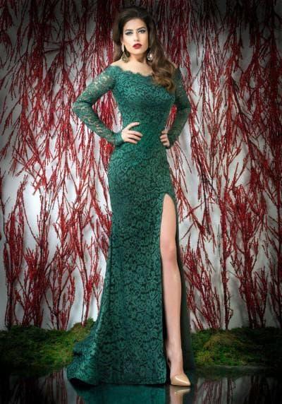 кружевное платье в пол с разрезом