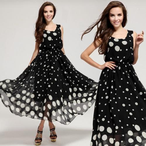 летнее платье из шифона в горошек