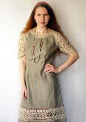 платье бохо с декоративной каймой