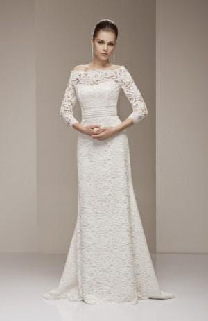 гипюровое свадебное платья с длинным рукавом