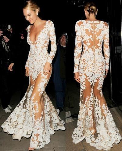 прозрачное кружевное платье в пол