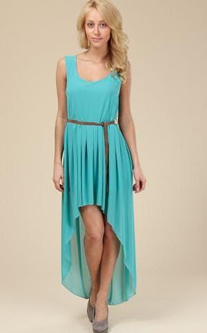 бирюзовое платье короткое спереди