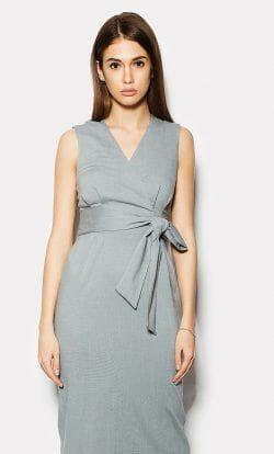 платье с запахом из льна