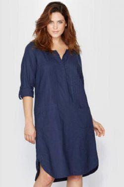 платье рубашка из льна для полных