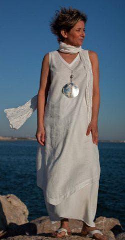 платье бохо из льна на лето