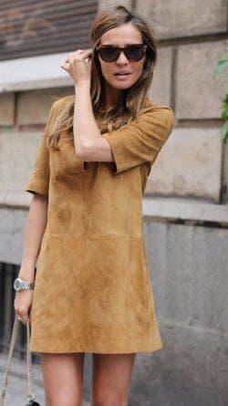 платье трапеция из искусственной замши