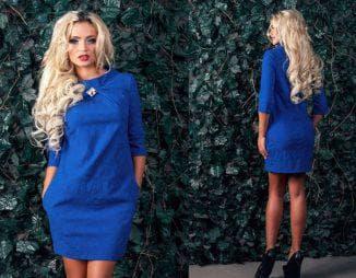 красивое жаккардовое платье синего цвета
