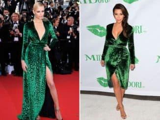 платье из зеленого бархата