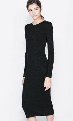 облегающее платье из трикотажа с длинным рукавом