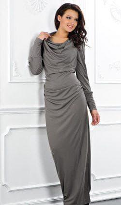 платье годе из трикотажа с длинным рукавом