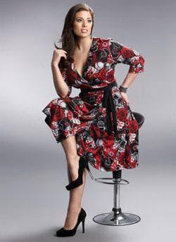 платье с запахом из мягкой ткани для девушек с широкими бёдрами