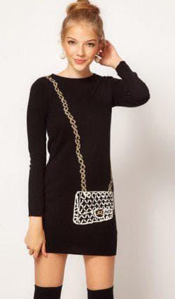чёрное платье из трикотажа с длинным рукавом