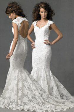 свадебное платье с открытой спиной из жаккарда