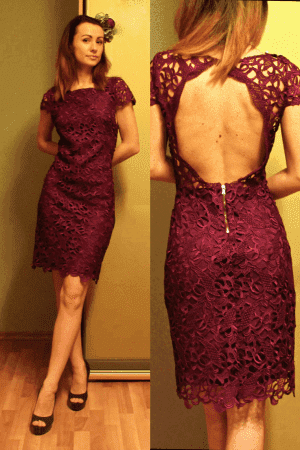 кружевное бордовое платье