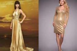 с чем носить золотое платье в паетках