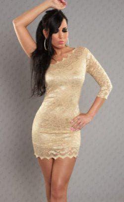 кружевное золотое платье