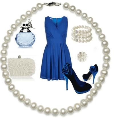 жемчуг к синему платью