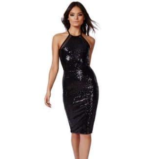 блестящее черное платье короткое