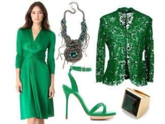 цвет украшений к зеленому платью