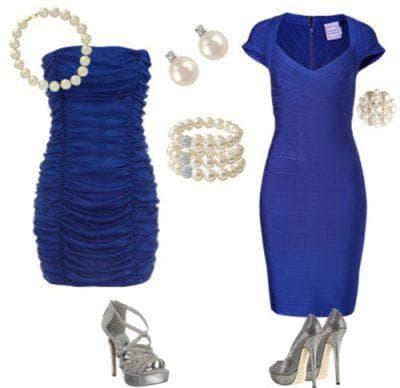 белая бижутерия к синему платью
