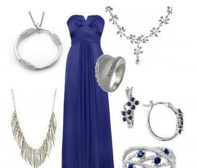 серебристая бижутерия к синему платью