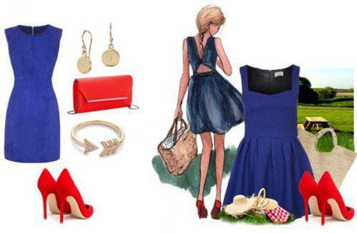 красные аксессуары к синему платью