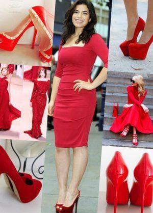 бордовое платье с яркими туфлями