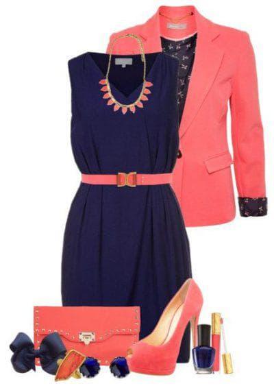 розовые аксессуары к синему платью
