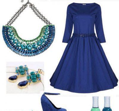 зелёные аксессуары к синему платью