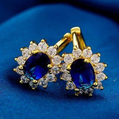 круглые серьги к синему платью