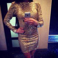 золотое платье с пайетками короткого стиля