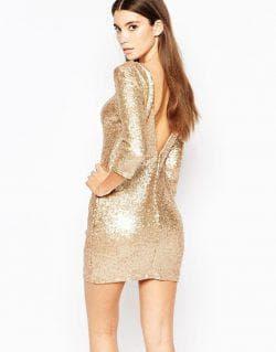 золотое платье футляр с пайетками