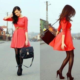 цвет колготок к красному платью