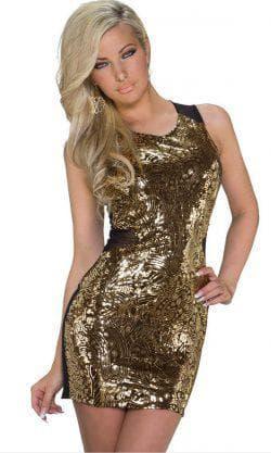 короткое золотое платье с пайетками