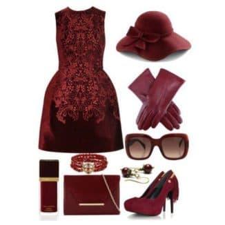 с чем носить бордовое кожаное платье
