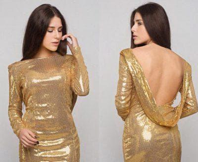 золотое платье с пайетками с открытой спиной