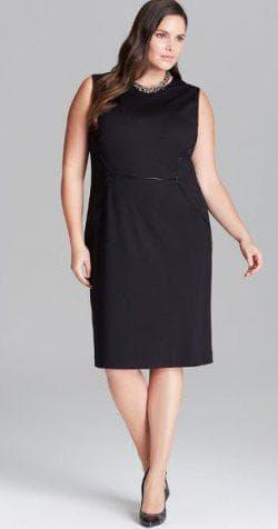 классическое чёрное платье а силуэта для полных