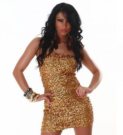 золотое платье с пайетками без лямок