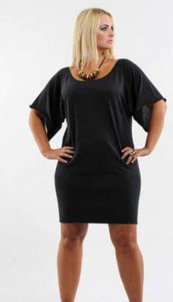 чёрное платье а силуэта для полных
