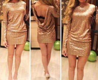 короткое платье с золотыми пайетками
