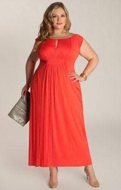 платье трапеция для полных ярко красного цвета