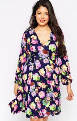платье трапеция для полных с цветочным принтом