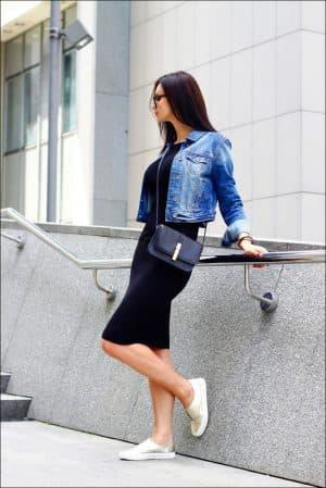 джинсовая куртка для платья лапша