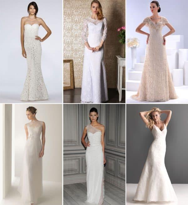 длинное приталенное свадебное платье-футляр