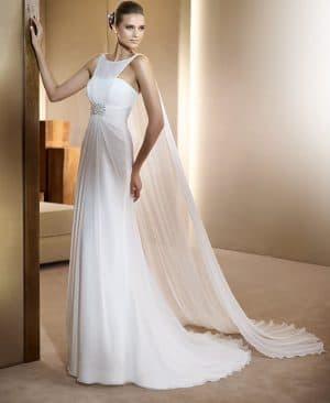 длинное приталенное греческое свадебное платье