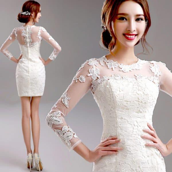 короткое свадебное приталенное платье