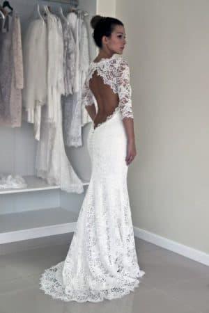 свадебное кружевное платье в пол