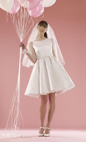 свадебное платье с драпировкой в стиле 60 х годов