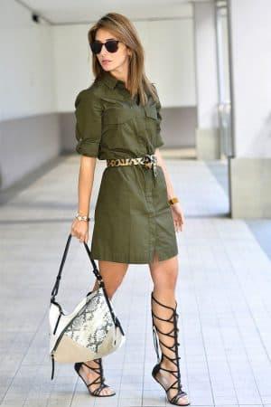 платье в стиле милитари